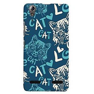 Oyehoye Cat Love Pattern Style Printed Designer Back Cover For Lenovo A6000 Mobile Phone - Matte Finish Hard Plastic Slim Case
