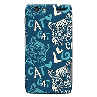 Oyehoye Cat Love Pattern Style Printed Designer Back Cover For Motorola Razr Maxx Mobile Phone - Matte Finish Hard Plastic Slim Case