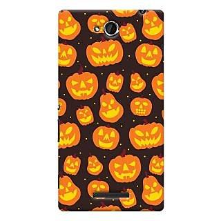 Oyehoye Halloween Pattern Style Printed Designer Back Cover For Sony Xperia C Mobile Phone - Matte Finish Hard Plastic Slim Case