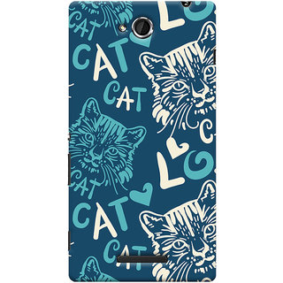 Oyehoye Cat Love Pattern Style Printed Designer Back Cover For Sony Xperia C Mobile Phone - Matte Finish Hard Plastic Slim Case