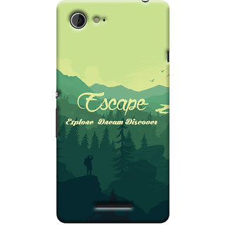Oyehoye Travellers Escape Printed Designer Back Cover For Sony Xperia E3 Mobile Phone - Matte Finish Hard Plastic Slim Case