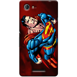 Oyehoye Superman Printed Designer Back Cover For Sony Xperia E3 Mobile Phone - Matte Finish Hard Plastic Slim Case