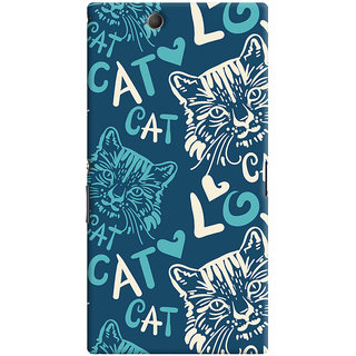 Oyehoye Cat Love Pattern Style Printed Designer Back Cover For Sony Xperia Z Ultra Mobile Phone - Matte Finish Hard Plastic Slim Case