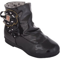 Small Toes Black Casual Boots for Girls