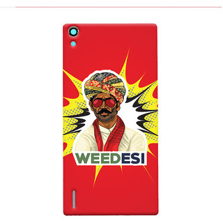 Oyehoye WEEDesi Quirky Style Printed Designer Back Cover For Huawei Ascend P7 / Dual Sim Mobile Phone - Matte Finish Hard Plastic Slim Case