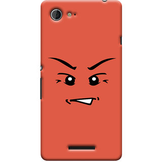 Oyehoye Angry Smiley Quirky Printed Designer Back Cover For Sony Xperia E3 Mobile Phone - Matte Finish Hard Plastic Slim Case