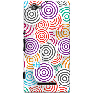 Oyehoye Colourful Pattern Printed Designer Back Cover For Sony Xperia M Mobile Phone - Matte Finish Hard Plastic Slim Case