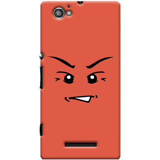 Oyehoye Angry Smiley Quirky Printed Designer Back Cover For Sony Xperia M Mobile Phone - Matte Finish Hard Plastic Slim Case