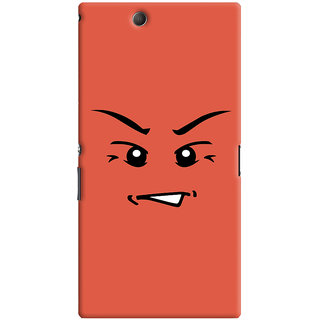 Oyehoye Angry Smiley Quirky Printed Designer Back Cover For Sony Xperia Z Ultra Mobile Phone - Matte Finish Hard Plastic Slim Case