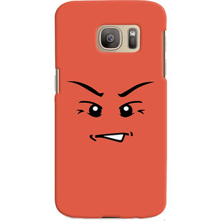 Oyehoye Angry Smiley Quirky Printed Designer Back Cover For Samsung Galaxy S7 Edge Mobile Phone - Matte Finish Hard Plastic Slim Case