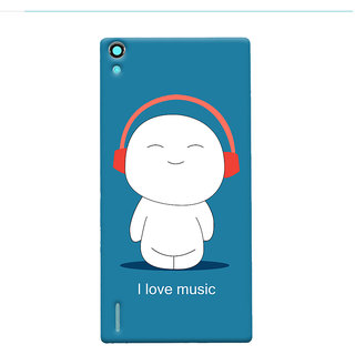 Oyehoye I Love Music Printed Designer Back Cover For Huawei Ascend P7 / Dual Sim Mobile Phone - Matte Finish Hard Plastic Slim Case