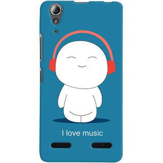 Oyehoye I Love Music Printed Designer Back Cover For Lenovo A6000 Mobile Phone - Matte Finish Hard Plastic Slim Case