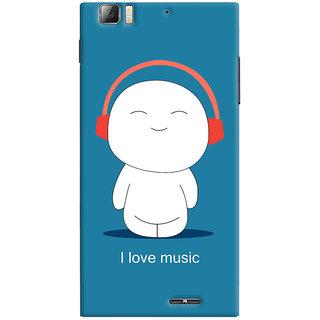 Oyehoye I Love Music Printed Designer Back Cover For Lenovo K900 Mobile Phone - Matte Finish Hard Plastic Slim Case