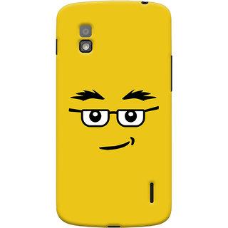 Oyehoye Quirky Smiley Expression Printed Designer Back Cover For LG Google Nexus 4 Mobile Phone - Matte Finish Hard Plastic Slim Case