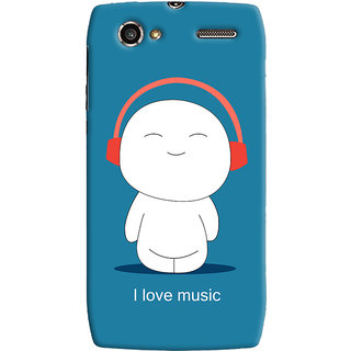 Oyehoye I Love Music Printed Designer Back Cover For Motorola RAZR V XT885 Mobile Phone - Matte Finish Hard Plastic Slim Case