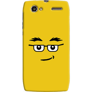 Oyehoye Quirky Smiley Expression Printed Designer Back Cover For Motorola RAZR V XT885 Mobile Phone - Matte Finish Hard Plastic Slim Case