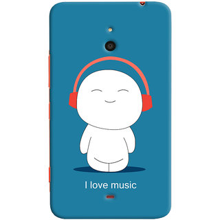 Oyehoye I Love Music Printed Designer Back Cover For Microsoft Lumia 1320 Mobile Phone - Matte Finish Hard Plastic Slim Case