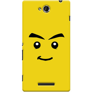 Oyehoye Sarcastic Smiley Quirky Printed Designer Back Cover For Sony Xperia C Mobile Phone - Matte Finish Hard Plastic Slim Case