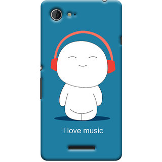 Oyehoye I Love Music Printed Designer Back Cover For Sony Xperia E3 Mobile Phone - Matte Finish Hard Plastic Slim Case