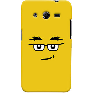 Oyehoye Quirky Smiley Expression Printed Designer Back Cover For Samsung Galaxy Core 2 Mobile Phone - Matte Finish Hard Plastic Slim Case