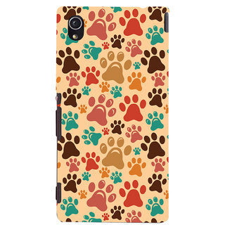 Oyehoye Animal Paw Print Pattern Style Printed Designer Back Cover For Sony Xperia M4 Aqua - Not Dual Mobile Phone - Matte Finish Hard Plastic Slim Case