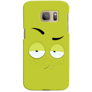 Oyehoye Smiley Expression Printed Designer Back Cover For Samsung Galaxy S7 Edge Mobile Phone - Matte Finish Hard Plastic Slim Case