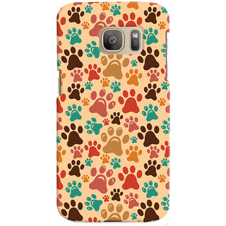 Oyehoye Animal Paw Print Pattern Style Printed Designer Back Cover For Samsung Galaxy S7 Edge Mobile Phone - Matte Finish Hard Plastic Slim Case
