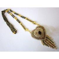"One Gram Gold Partywear Stunning Heavy Precious Stone Mangalsutra--28.9"""