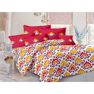 Valtellina Red  Traditional Design Color Fastness Cotton Double Bedsheet with 2 CONTRAST Pillow Cover-Best TC-175