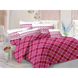 Valtellina Maroon  Checkered Design 100 Cotton Double Bedsheet with 2 CONTRAST Pillow Cover-Best TC-175