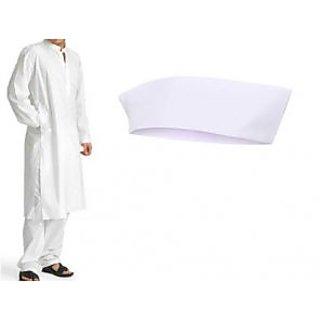White Cotton Kurta Pajama Set For Men With Cotton Gandhi Topi