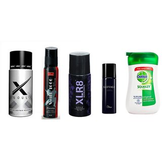 Combo of Hrx + Swift Deo + Hot Collection Deo + XLR8 Deo + Dettol Handwash