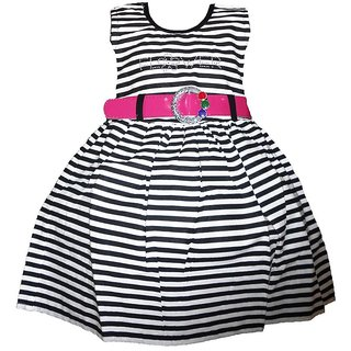 Brisa Nautical Striped Fit and Flare Black Sleeveless Knee Length Cotton Frock with Pink Belt