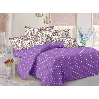 Valtellina Purple  Polka Design 100 Organic Double Bedsheet with 2 CONTRAST Pillow Cover-Best TC-175