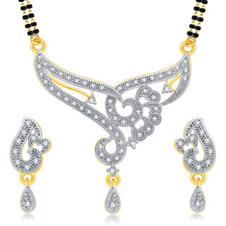 Sukkhi Artistically Gold Plated CZ Mangalsutra Set For Women