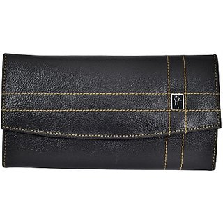 Hawai Women Casual And Formal Black Genuine Leather Wallet (6 Card Slots)