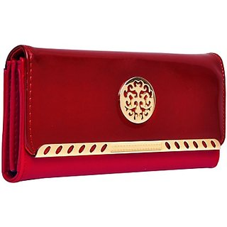 Hawai Women Red And Maroon Artificial Leather Wallet (8 Card Slots)