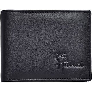 Hawai Men Casual And Formal Black Genuine Leather Wallet (6 Card Slots)