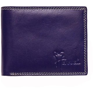 Hawai Men Casual Blue Genuine Leather Wallet (5 Card Slots)