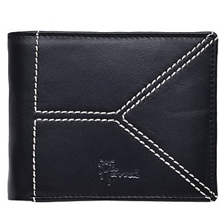Hawai Men And Women Casual And Formal Black Genuine Leather Wallet (5 Card Slots)