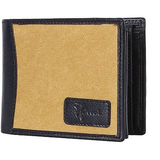Hawai Men And Women Formal Black Genuine Leather Wallet (6 Card Slots)