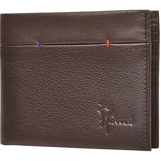 Hawai Men And Women Brown Genuine Leather Wallet (9 Card Slots)