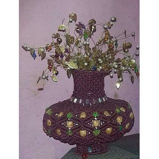 Handmade Macrame Clay Vase With Flowers