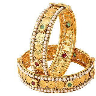 Jay Shreeya Creations Copper Yellow Gold Bangle Set