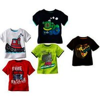 Kids Printed Round Neck Cotton T-shirt(Set Of 5)