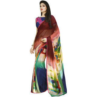 Saree Mall Multi  Lace Border Printed Saree with Unstitched Blouse 2SBY7216