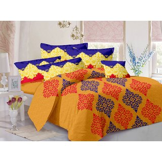 Valtellina Yellow  Traditional Design Super Soft Cotton Double Bedsheet with 2 CONTRAST Pillow Cover-Best TC-175