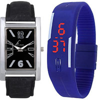 Jack Klein Combo Of Leather And Silicone Strap Rectangular Dial Elegant Analog And Digital Wrist Watches