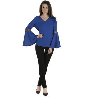 Electric blue moss crepe top with flared bell sleeves and  leather trim on elbow level