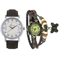 Jack Klein Combo Of Leather Strap Round Dial Elegant Analog Wrist Watches